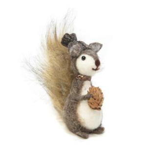 36cmh Xmas Wool Decoration-Squirrel W/Pine Cone
