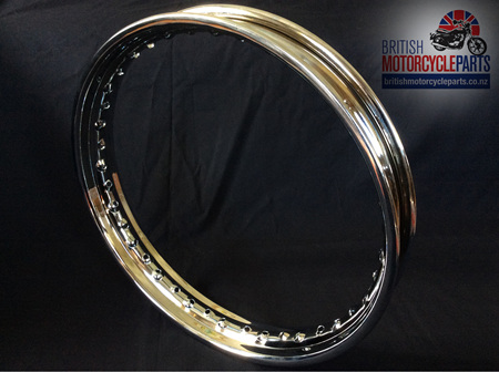 """37-3920 Triumph BSA 19"""" Chrome Rim Conical Rear"""