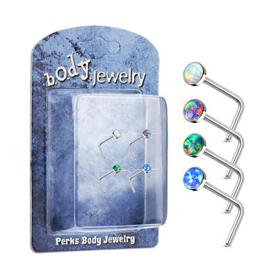 4 Opal Set L Bend Nose Stud Bonus Pack