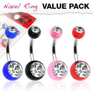 4 Pack Assorted Color Navel Rings w/ Double Clear CZ UV Balls