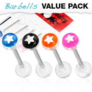 4 Pack Assorted Color Tongue Bars w/ Star Embedded in Uv Ball