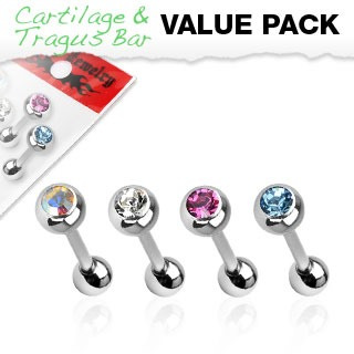 4 Pack Barbell w/ Press Fit Gem Set Ball 16g