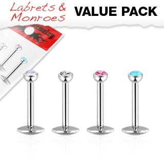 4 Pack Internally Threaded Monroe with Press Fit Gem