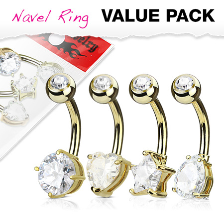 4 Pack Mixed Shape Solitaire CZ Set Navel Rings