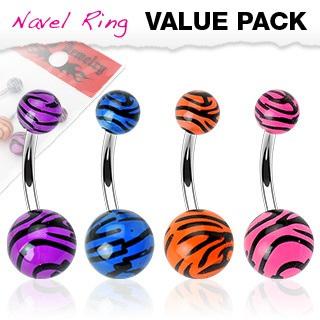 4 Pack of Assorted Color Tiger Stripe UV Navel Bar