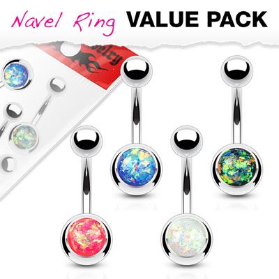 4  Pack Opal Glitter Set Navel  Rings