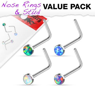 "4 Pack Opal Set  ""L"" Bend Nose Stud"