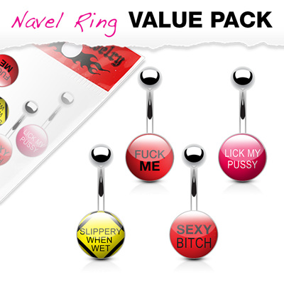 4 Pack Text Logo Inlaid Clear Epoxy Navel Rings