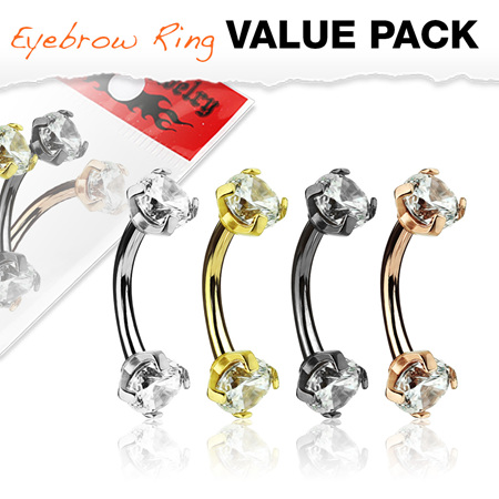 4 Pc Prong Set Clear CZ Internally Threaded Eyebrow Bar