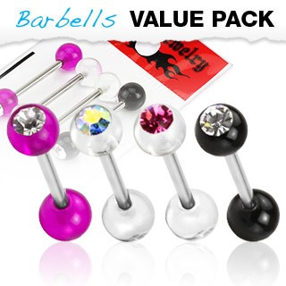 4 Pcs Assorted Acrylic Gem Tongue Bar