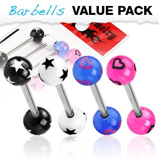 4 Pcs Assorted Color Barbells w/ Stars & Hearts UV Balls