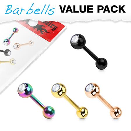 4 Pcs  Crystal Set Ball Top IP  Barbells