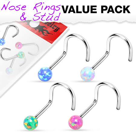 4 Pcs of Assorted Opal Ball 316L Surgical Steel Nose Screw