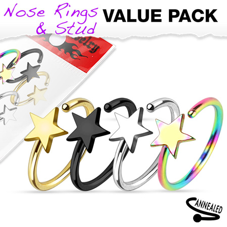 4 Pcs of Assorted Titanium IP Star Nose Ring