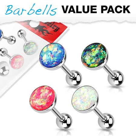 4 Pcs  Opal Glitter Set Tongue Bars
