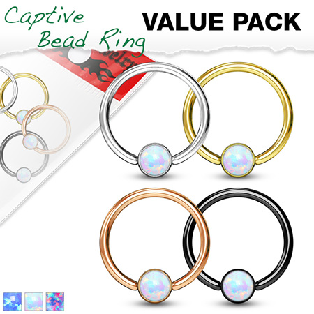 4 Pcs Opal Set Ball Captive Rings Value Pack