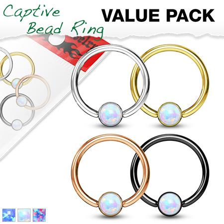 4 Pcs Opal Set Ball Captive Rings Value Pack