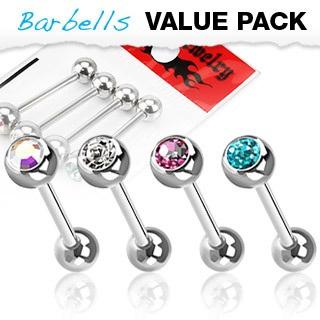 4 Pcs Pack Assort Tongue Bar w/ Gem Ball