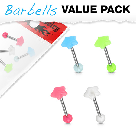 4 Pcs Pack Glow in the Dark Star Top Barbells