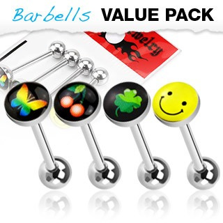 4 Pcs Pack of Logo Tongue Bars
