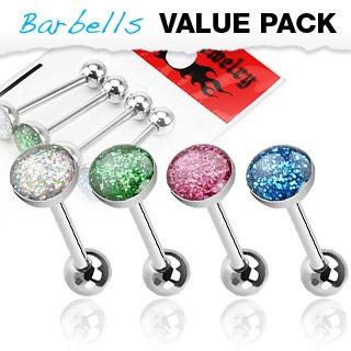 4 Pcs Tongue Barbell w/ Epoxy Glitter Ball