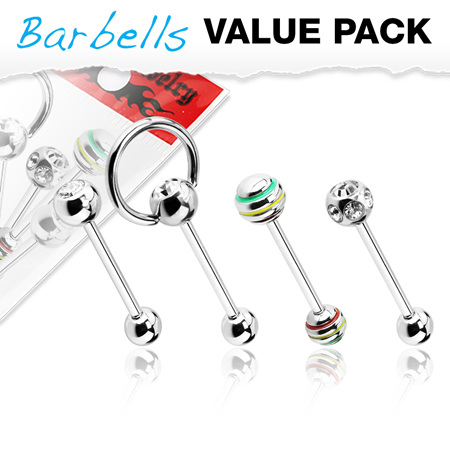 4 Pcs Value Pack of Assorted 316L Surgical Steel Barbell