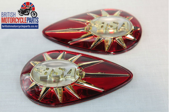 40-8014 40-8015 BSA Tank Badges BSA A65, A7, A10, B40, C15 and Bantam D7.