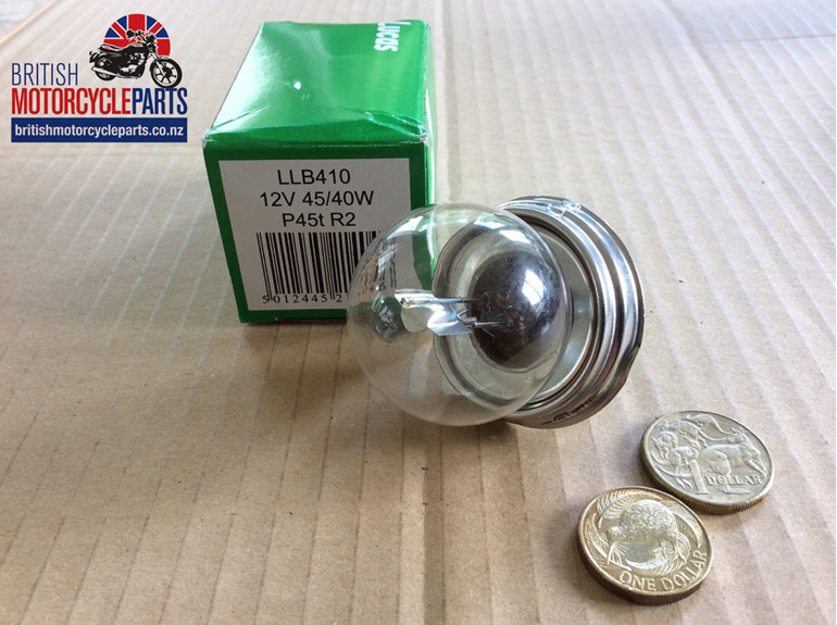 410 Lucas Headlight Bulb 12V 45/40W P45T - LLB410 06-8019 - British MC Parts NZ