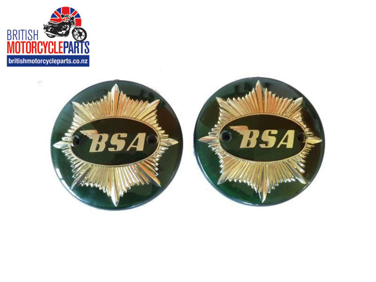 42-8105 BSA A7 Shooting Star & Gold Star Tank Badges - Green & Gold - UK Made