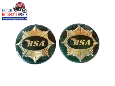 42-8105 BSA A7 Tank Badges - Green & Gold - Pair