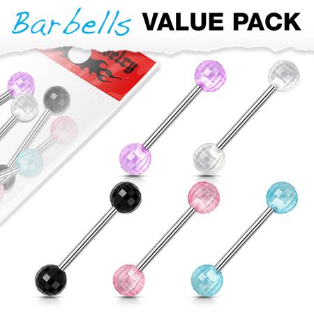 5 Pack Acrylic Disco Ball Tongue Bar