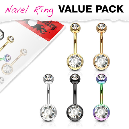 5 Pack Double Jewelled IP Plated Navel Rings