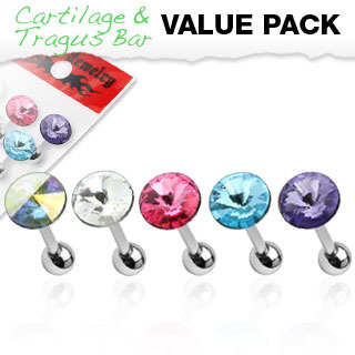 5  Pack of Assorted Pointed Crystal Cartilage/Tragus Barbell