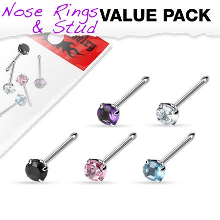 5 Pack of Assorted Prong Set Gem Nose Bone