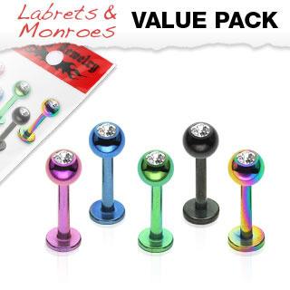 5 Pack Titanium IP Labret w/ Press Fit Gem Balls