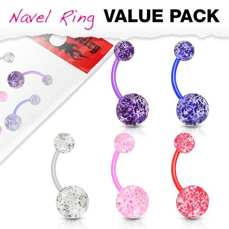 5  Pack Ultra Glitter Acrylic Balls BioFlex Navel Bar
