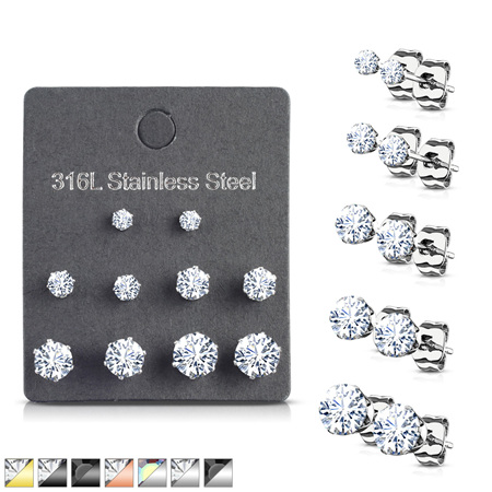 5 Pairs of Assorted Sizes Prong Set Earrings