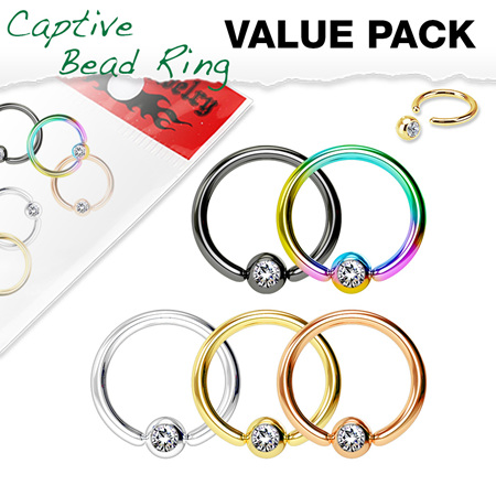 5 Pcs Jewel Set Ball Captive Rings Value Pack
