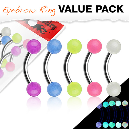 5 Pcs Pack Acrylic Glow in the Dark Eyebrow Bar
