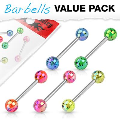 5 Pcs Pack Metallic Splatter Tongue Bars