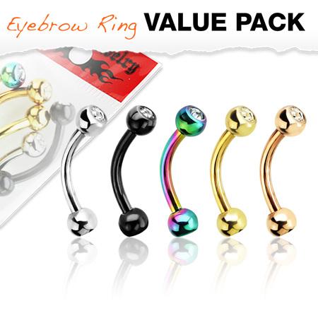 5 Pcs Pack Press Fit Gemmed  Titanium IP Eyebrow Bar