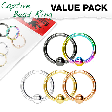 5 Pcs PVD  Captive Bead Rings Value Pack