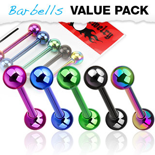 5 Pcs Value Pack of Titanium IP Straight Barbell