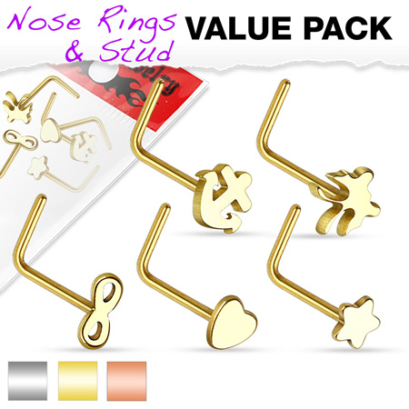 5 Piece Variety L Bend Nose Stud Pack