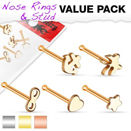 5 Piece Variety Nose Stud Pack