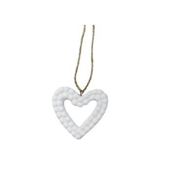 5cm Lark Porcelain Heart Deco-White