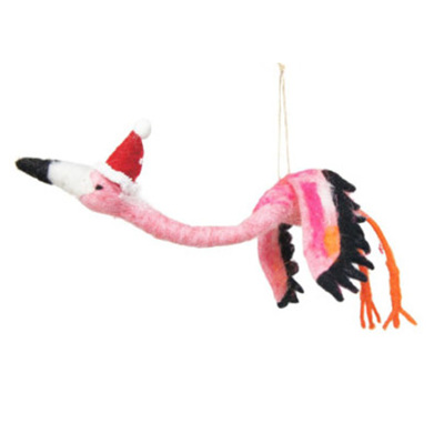 5cmh Xmas Wool Decoration-Flying Flamingo