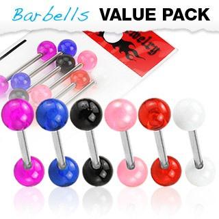 6 Pack Assorted Color Tongue Bar w/ UV Balls
