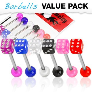 6 Pack Assorted Tongue Bars w/ UV Dice