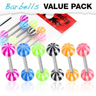 6 Pack of Tongue Bars w/ Candy Stripe UV Ball